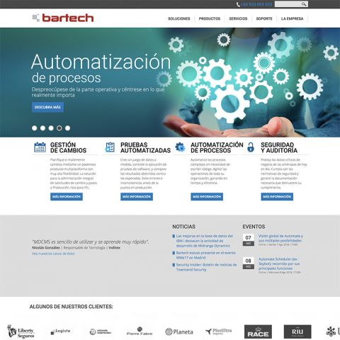 Diseño Web Responsive y marketing online para Bartech